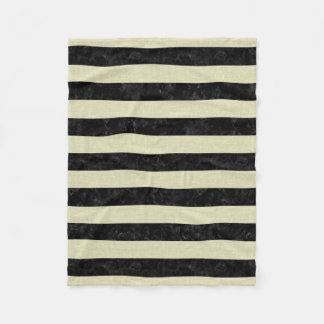 STRIPES2 BLACK MARBLE & BEIGE LINEN FLEECE BLANKET