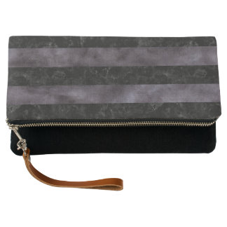 STRIPES2 BLACK MARBLE & BLACK WATERCOLOR CLUTCH