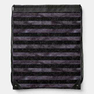 STRIPES2 BLACK MARBLE & BLACK WATERCOLOR DRAWSTRING BAG