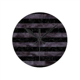 STRIPES2 BLACK MARBLE & BLACK WATERCOLOR ROUND CLOCK