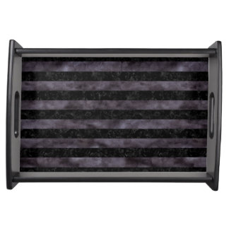 STRIPES2 BLACK MARBLE & BLACK WATERCOLOR SERVING TRAY