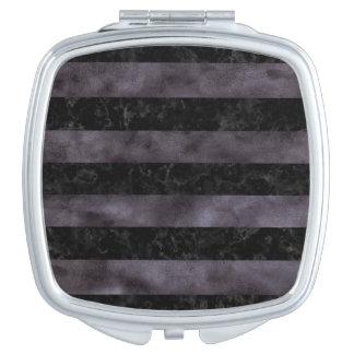 STRIPES2 BLACK MARBLE & BLACK WATERCOLOR VANITY MIRROR