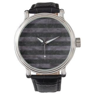 STRIPES2 BLACK MARBLE & BLACK WATERCOLOR WATCH