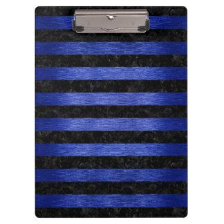 STRIPES2 BLACK MARBLE & BLUE BRUSHED METAL CLIPBOARD