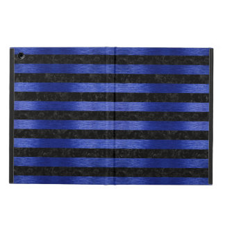 STRIPES2 BLACK MARBLE & BLUE BRUSHED METAL COVER FOR iPad AIR
