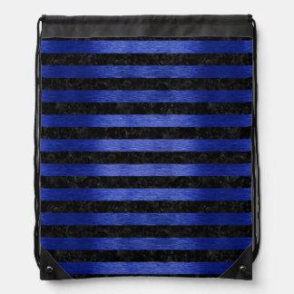 STRIPES2 BLACK MARBLE & BLUE BRUSHED METAL DRAWSTRING BAG