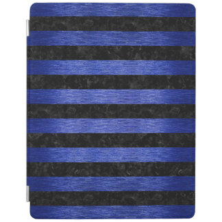 STRIPES2 BLACK MARBLE & BLUE BRUSHED METAL iPad COVER
