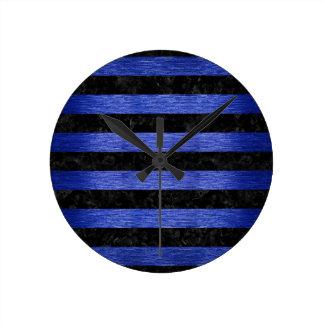 STRIPES2 BLACK MARBLE & BLUE BRUSHED METAL ROUND CLOCK