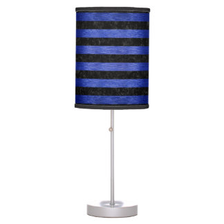 STRIPES2 BLACK MARBLE & BLUE BRUSHED METAL TABLE LAMP