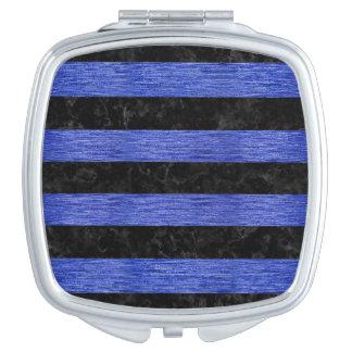 STRIPES2 BLACK MARBLE & BLUE BRUSHED METAL TRAVEL MIRROR