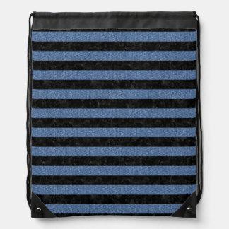 STRIPES2 BLACK MARBLE & BLUE DENIM DRAWSTRING BAG