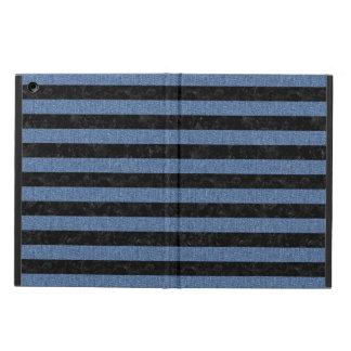 STRIPES2 BLACK MARBLE & BLUE DENIM iPad AIR COVER