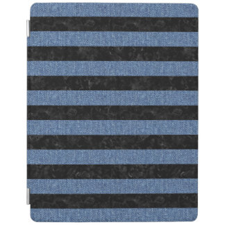 STRIPES2 BLACK MARBLE & BLUE DENIM iPad COVER