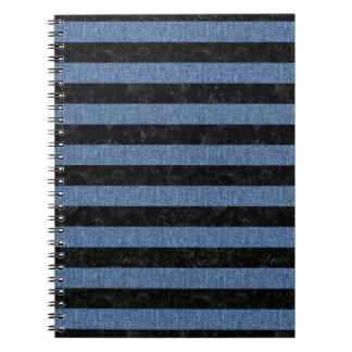 STRIPES2 BLACK MARBLE & BLUE DENIM NOTEBOOK