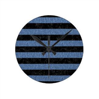 STRIPES2 BLACK MARBLE & BLUE DENIM ROUND CLOCK