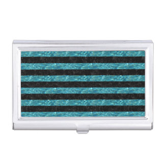 STRIPES2 BLACK MARBLE & BLUE-GREEN WATER BUSINESS CARD HOLDER