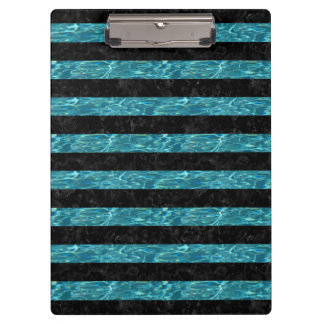 STRIPES2 BLACK MARBLE & BLUE-GREEN WATER CLIPBOARD