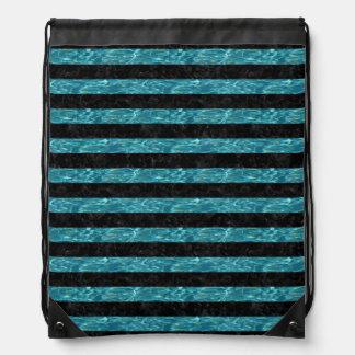 STRIPES2 BLACK MARBLE & BLUE-GREEN WATER DRAWSTRING BAG