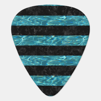 STRIPES2 BLACK MARBLE & BLUE-GREEN WATER GUITAR PICK