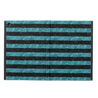 STRIPES2 BLACK MARBLE & BLUE-GREEN WATER iPad AIR COVER