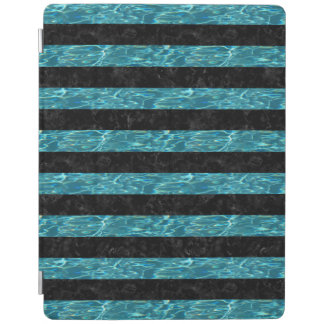 STRIPES2 BLACK MARBLE & BLUE-GREEN WATER iPad COVER