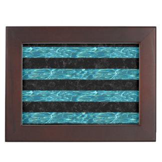 STRIPES2 BLACK MARBLE & BLUE-GREEN WATER KEEPSAKE BOX