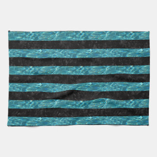 STRIPES2 BLACK MARBLE & BLUE-GREEN WATER KITCHEN TOWEL