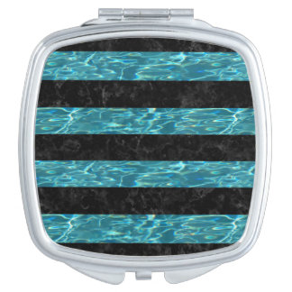 STRIPES2 BLACK MARBLE & BLUE-GREEN WATER MIRROR FOR MAKEUP