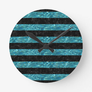 STRIPES2 BLACK MARBLE & BLUE-GREEN WATER ROUND CLOCK