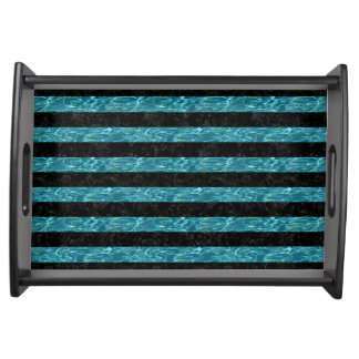 STRIPES2 BLACK MARBLE & BLUE-GREEN WATER SERVING TRAY