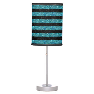 STRIPES2 BLACK MARBLE & BLUE-GREEN WATER TABLE LAMP