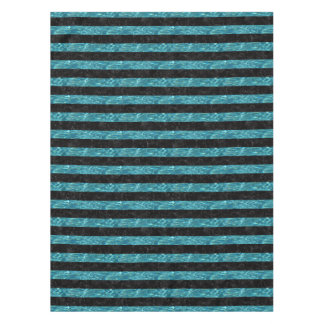 STRIPES2 BLACK MARBLE & BLUE-GREEN WATER TABLECLOTH