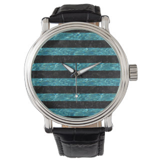 STRIPES2 BLACK MARBLE & BLUE-GREEN WATER WATCH