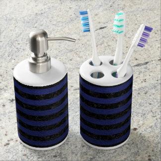 STRIPES2 BLACK MARBLE & BLUE LEATHER BATHROOM SET