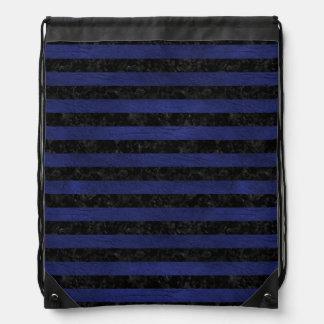 STRIPES2 BLACK MARBLE & BLUE LEATHER DRAWSTRING BAG