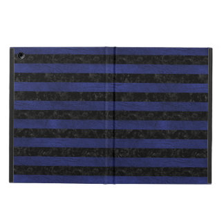 STRIPES2 BLACK MARBLE & BLUE LEATHER iPad AIR COVER