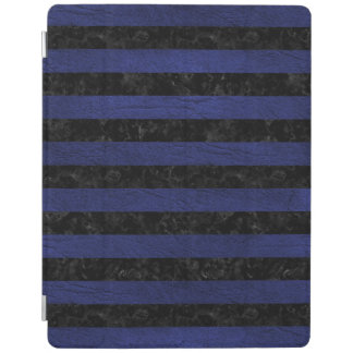STRIPES2 BLACK MARBLE & BLUE LEATHER iPad COVER