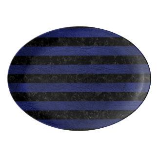 STRIPES2 BLACK MARBLE & BLUE LEATHER PORCELAIN SERVING PLATTER
