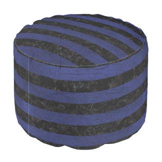 STRIPES2 BLACK MARBLE & BLUE LEATHER POUF