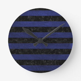 STRIPES2 BLACK MARBLE & BLUE LEATHER ROUND CLOCK