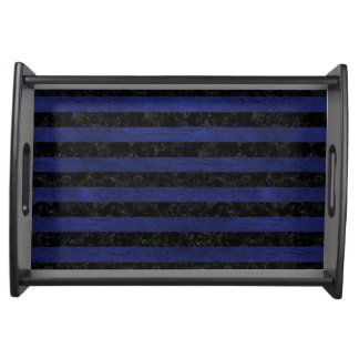STRIPES2 BLACK MARBLE & BLUE LEATHER SERVING TRAY