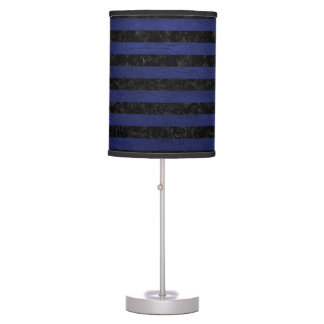 STRIPES2 BLACK MARBLE & BLUE LEATHER TABLE LAMP