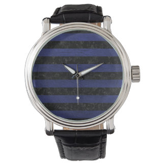 STRIPES2 BLACK MARBLE & BLUE LEATHER WATCH
