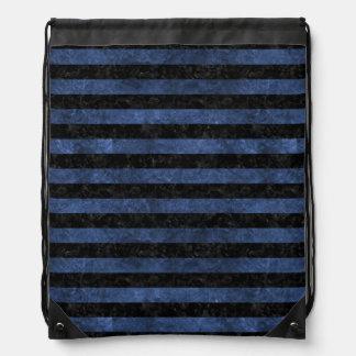 STRIPES2 BLACK MARBLE & BLUE STONE DRAWSTRING BAG
