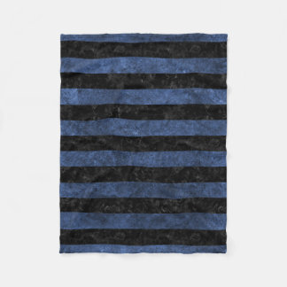 STRIPES2 BLACK MARBLE & BLUE STONE FLEECE BLANKET