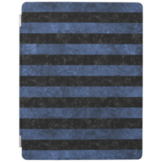 STRIPES2 BLACK MARBLE & BLUE STONE iPad COVER