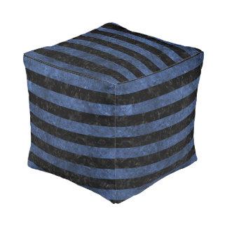 STRIPES2 BLACK MARBLE & BLUE STONE POUF