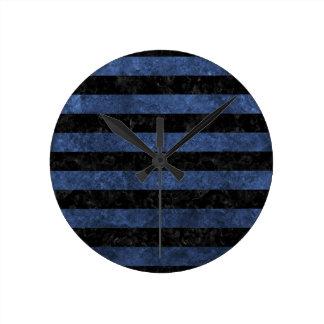STRIPES2 BLACK MARBLE & BLUE STONE ROUND CLOCK