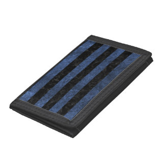 STRIPES2 BLACK MARBLE & BLUE STONE TRI-FOLD WALLET