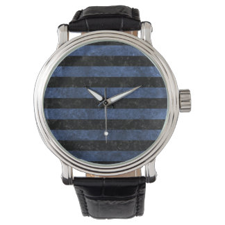 STRIPES2 BLACK MARBLE & BLUE STONE WATCH